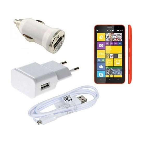 Case 4U Nokia Lumia 1320 3İn1 Ev Ve Araç Şarj Seti
