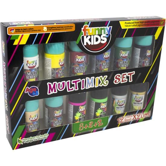 Funny Kids 8+2+2 Multimix Set 12 Renk x 20 ml