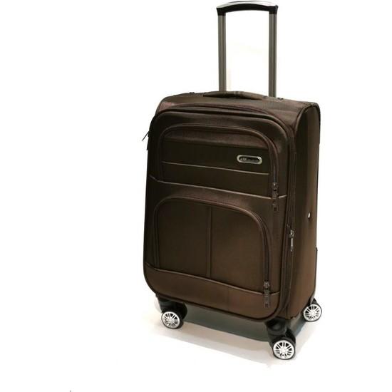 NK Kabin Boy Valiz 4 Tekerlekli Kumaş Kahverengi 0012