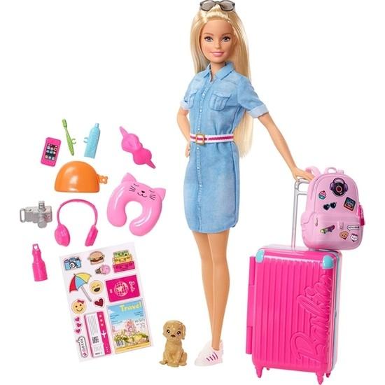 Barbie Seyahatte Bebeği ve Aksesuarları FWV25