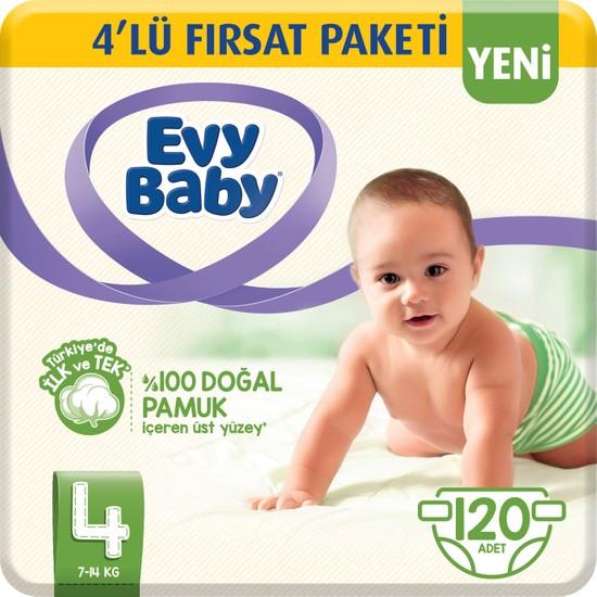 Evy Baby Bebek Bezi 4 Beden Maxi 4'lü Fırsat Paketi 120 Adet