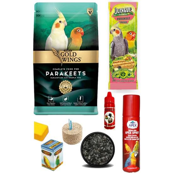 Gold Wings Premium Paraket, Sultan, Cennet Papağanı Yem ve Bakım Seti