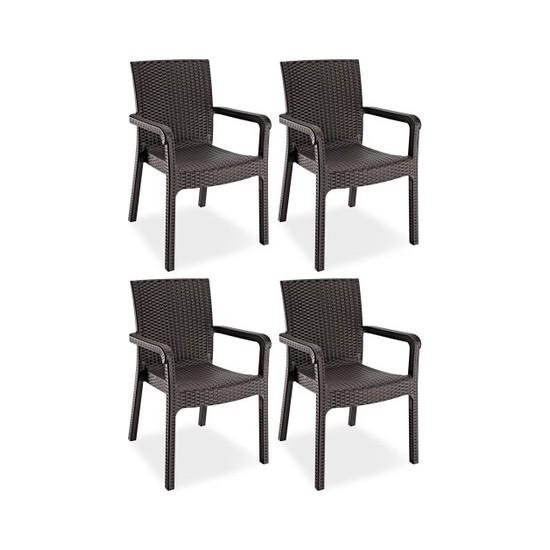 Violet Rattan Koltuk Rattan Bahçe Balkon Sandalyesi Kahverengi (4 Adet)