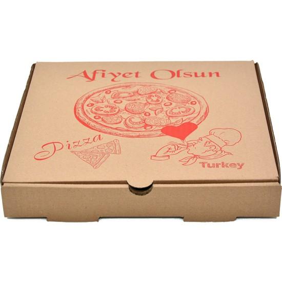Kraft Baskılı Pizza Kutusu 28CM- Börek Kutusu - Pide Kutusu 100ADET