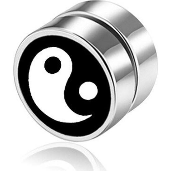 VipBT Yin Yang Mıknatıslı Deliksiz Manyetik Küpe Gümüş Gri