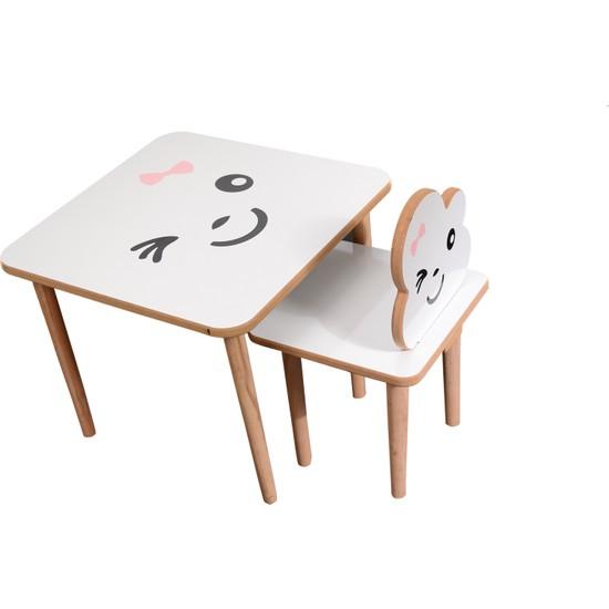 Webkapinda Ahşap Çocuk Masa Sandalye Takımı 1 Sandalye 1 Masa Kız Stickerlı