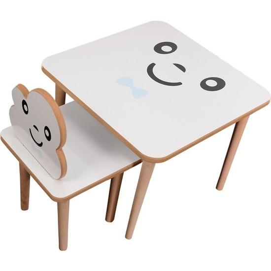 Webkapinda Ahşap Çocuk Masa Sandalye Takımı 1 Sandalye 1 Masa Erkek Stickerlı