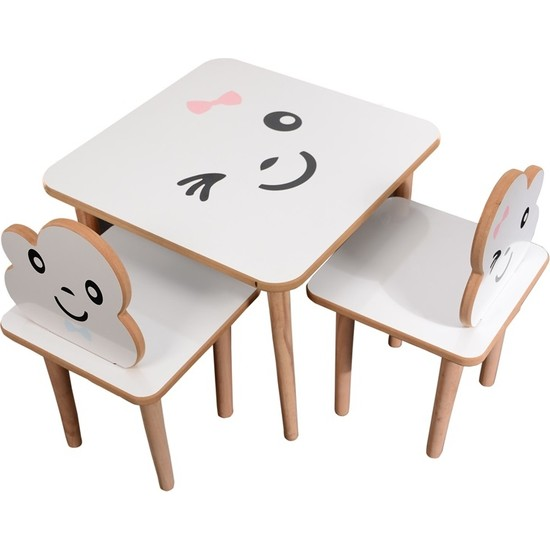 Webkapinda Ahşap Çocuk Masa Sandalye Takımı 2 Sandalye 1 Masa Kız Stickerlı