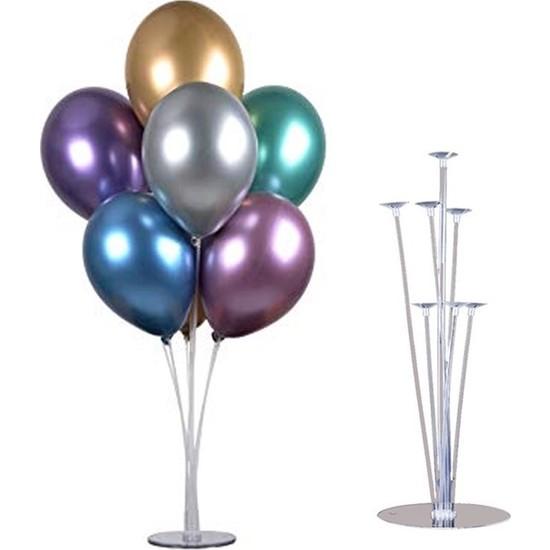 Cakes & Party 7'li Balon Standı ve 10 Adet Karışık Renkli Metalik Balon