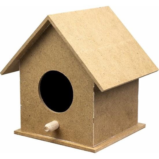 Tuğra Boyanabilir Ahşap Kuş Evi Mdf 10x10x12 cm