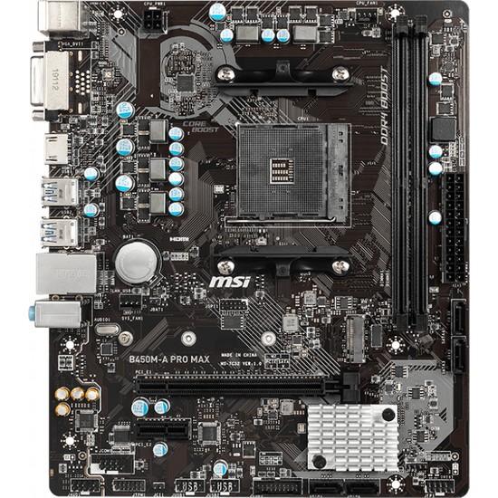 MSI B450M-A PRO MAX AM4 DDR4 3466(OC) DVI HDMI M.2 USB3.2 mATX Anakart
