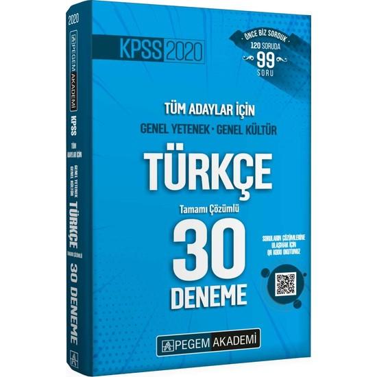 Pegem Akademi 2020 KPSS Genel Yetenek - Genel Kültür Türkçe 30 Deneme