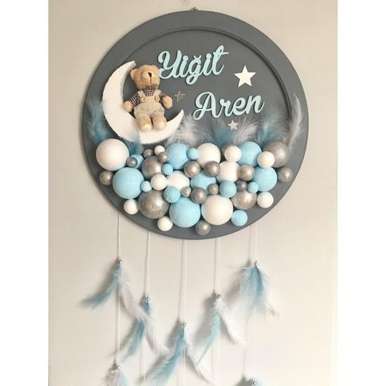Buki'nin Atölyesi Ahşap Pano Bebek Kapı Süsü Mavi