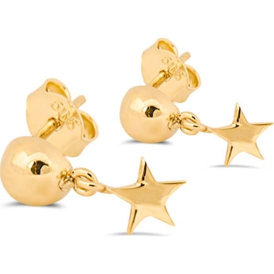Dal Kuyumculuk 14 Ayar Altın Modern Yıldız Küpe Modeli