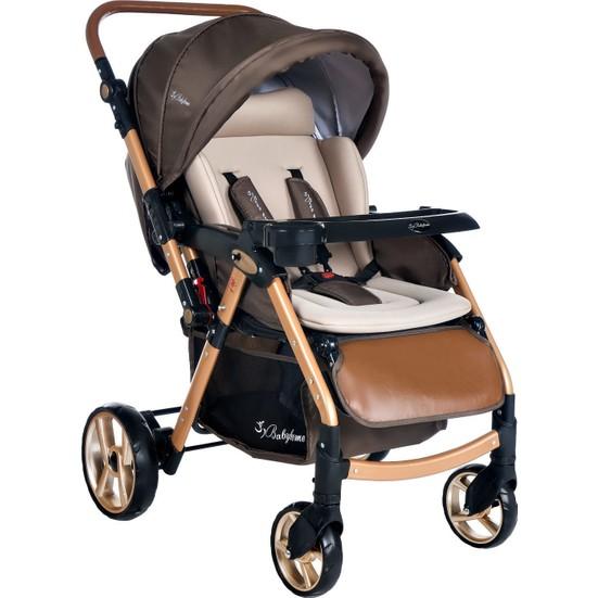 Baby Home BH-770 Gold Alüminyum Bilyeli Teker Bebek Arabası Kahve