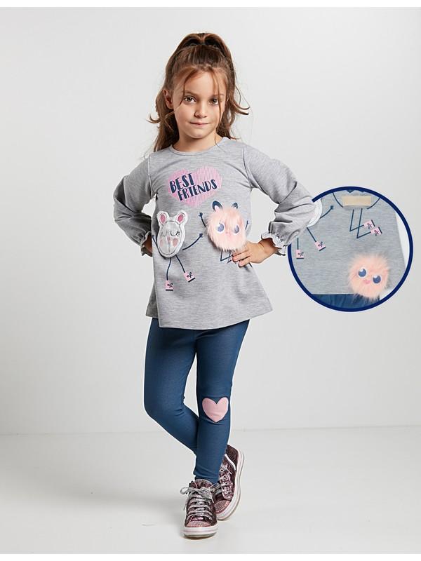Denokids Kız Çocuk Ponpon Friends Tunik Takım