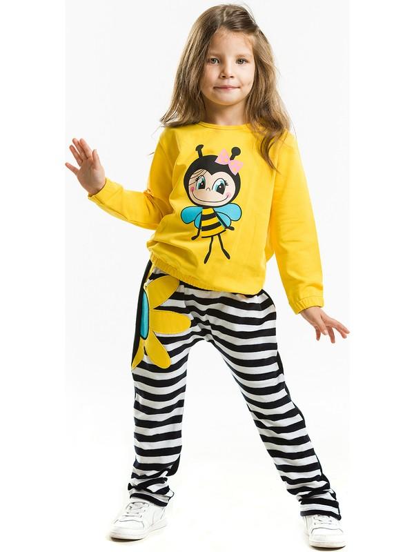 Denokids Kız Çocuk Bee Happy Kız Kadife Eşofman Takım