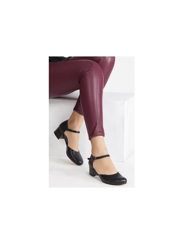 Tarçın Deri Siyah Klasik Günlük Kadın Topuklu Ayakkabı TRC71-0136
