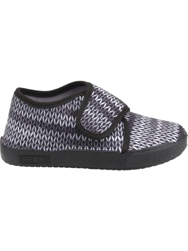 Sanbe 106P123 Okul Kreş Kız Çocuk Keten Panduf Ayakkabı Siyah