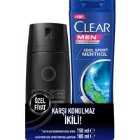 Axe Black Erkek Deodorant Sprey 150 ml + Clear Men Şampuan Cool Sport 180 ml Set