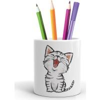2K Dizayn Minik Kedi Tasarım Seramik Kalemlik