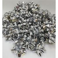 Metalik Gümüş Hediye Paketi Süsü Yıldız Rafya Fiyonk 100'lü