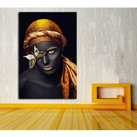 Sibiro Afrikalı Kadın Kelebek Kanvas Tablo zk9