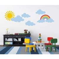 Tilki Dünyası Gökkuşağı Güneş ve Bulutlar Bebek Çocuk Odası Duvar Sticker