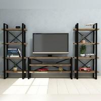 Doffo Metal Ayaklı Masif Ahşap Tv Duvar Ünitesi Sehpası - Kolon Design Tv Standı