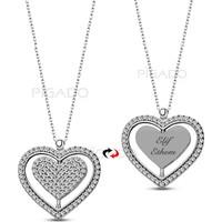 Pigado İsme Kişiye Özel Dönen Kalp 925 Ayar Gümüş Kolye