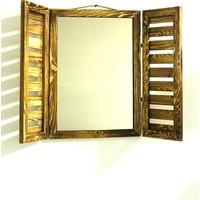 Ahşap Sanat Ahşap Dekoratif Alaçatı Bronz Ayna Yakma 55 x 38 cm