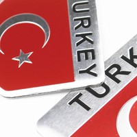Oem Türk Bayrağı Metal Sticker 5 x 8 cm