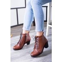 Tarçın Deri Taba Günlük Kadın Topuklu Bot Trc137-0858