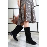 Tarçın Siyah Süet Günlük Kadın Topuklu Klasik Çizme Trc02-Rs010