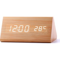 Schulzz LED Ahşap Bambu Tasarımlı Termometreli Masaüstü Çalar Saat