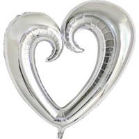 Kidspartim Kalp Folyo Balon Gümüş 96 x 109 cm