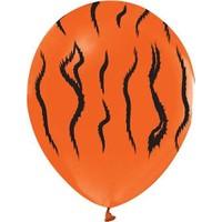Kidspartim Turuncu Üzeri Kaplan Desenli 12 inç Lateks Balon