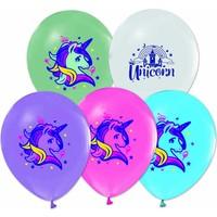 Kidspartim Unicorn Baskili Karişik Renkli Lateks Balon