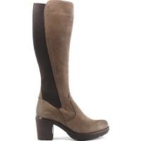 İloz 9K-1065861 Kadın Deri Topuklu Çizme Vizon