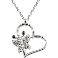 Clavis Jewelry Kelebekli Kalp Kolye 18 Ayar
