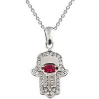 Clavis Jewelry Yakut Taşlı Fatma Eli Kolye 8 Ayar