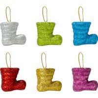 Kikajoy Yılbaşı Çam Ağacı Süsü Renkli Çizmeler 6'lı