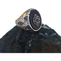 Dalman Silver Çift Renk Kaplama Onix Taşlı Özel Koleksiyon Gümüş Erkek Yüzüğü