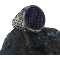 Dalman Silver Yuvarlak Özel Taşlı Oksitli Gümüş Erkek Yüzüğü