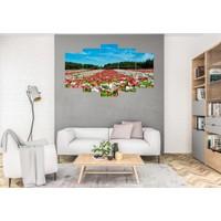 Hediye Kapında 5 Parçalı Dekoratif Tablo Rengarenk Çiçek