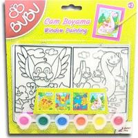 Bu-Bu Cam Boyama Seti 2'li - 6 Renk Cam Boyası + Fırça