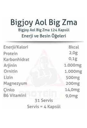 Bigjoy Aol Big Zma 124 Bitkisel Kapsül 31 Servis Arginine, Çinko Komplex