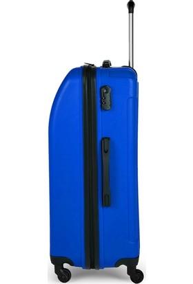 Blue Monkey V Model 3'lü Valiz Seti Kabin Orta Büyük Indigo Mavi