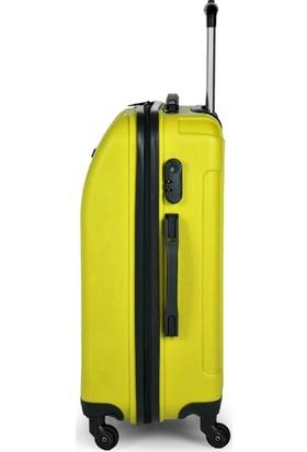 Blue Monkey V Model 3'lü Valiz Seti Kabin Orta Büyük Limon Yeşili