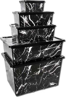 Qutu Trend Box Black Marble Dekoratif Saklama Kutusu - 5 Parça